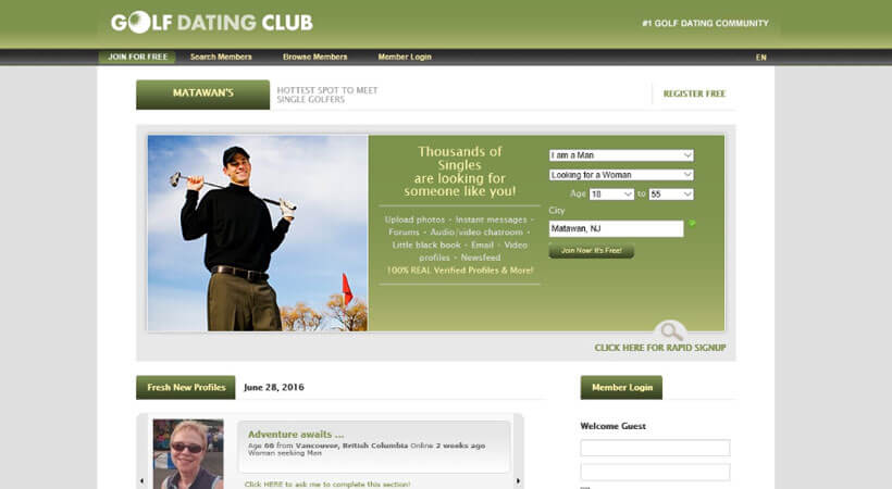 golf dating club homepage