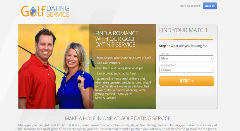 golf dating service homepage